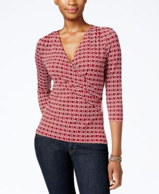 Charter Club Faux-Wrap Printed Top, Only at Vogily