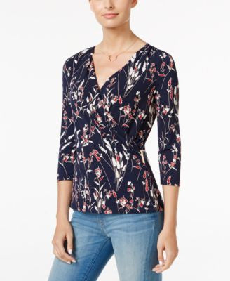 Charter Club Petite Printed Crossover Wrap Top, Only at Vogily