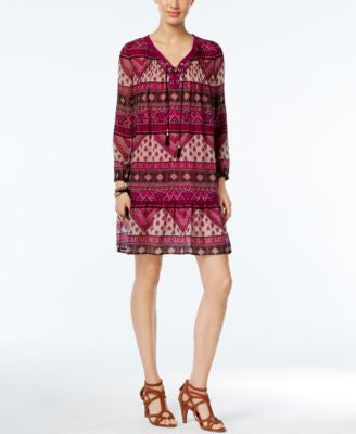 NY Collection Petite Lace-Up Printed Peasant Dress