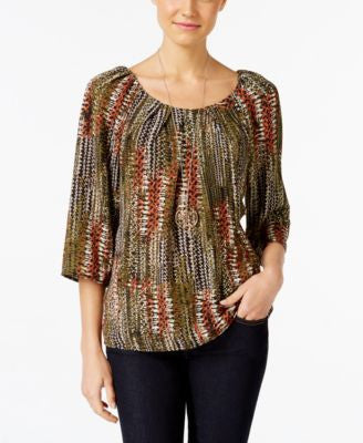 NY Collection Petite Lace-Up Printed Peasant Top