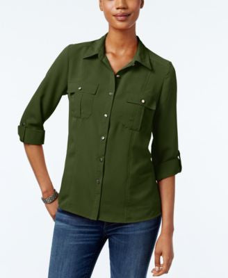 NY Collection Petite Crinkled Utility Shirt