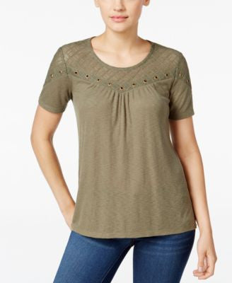 Style & Co. Petite Lace-Trim Grommet High-Low Top, Only at Vogily
