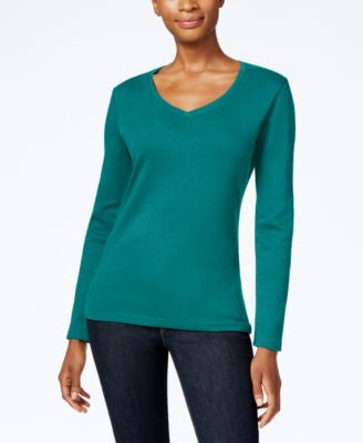 Karen Scott Petite V-Neck Top, Only at Vogily