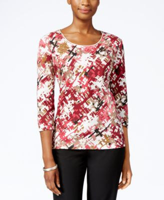 Karen Scott Petite Printed Three-Quarter-Sleeve Top, Only at Vogily