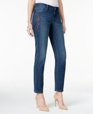 Style & Co. Petite Embroidered Marseilles Wash Ankle Jeans, Only at Vogily