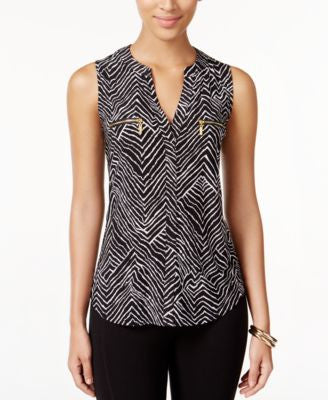 INC International Concepts Petite Printed Sleeveless Zip-Pocket Top, Only at Vogily