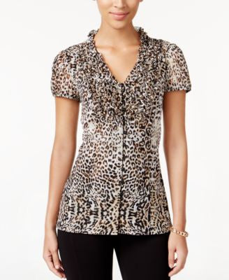 INC International Concepts Petite Ruffle-Front Printed Top, Only at Vogily