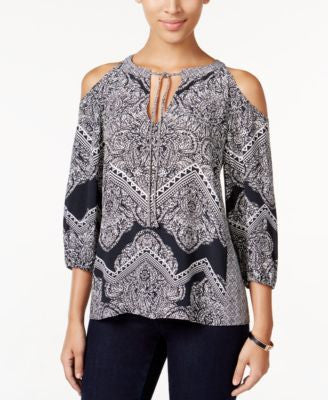 INC International Concepts Petite Printed Cold-Shoulder Peasant Top, Only at Vogily