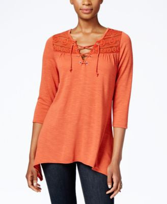 NY Collection Petite Lace-Up Peasant Blouse