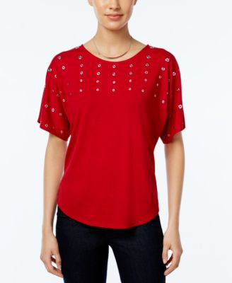 NY Collection Petite Embellished Dolman-Sleeve Top