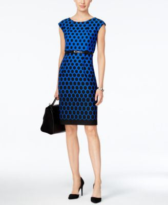 Connected Geo-Print Belted Sheath Dress