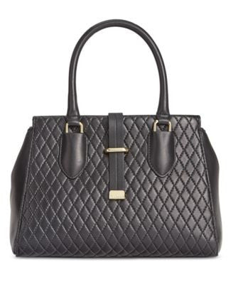Calvin Klein Quilted Leather Small Satchel