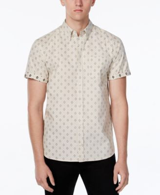 WHT SPACE Men's Reverse Diamond Print Short-Sleeve Shirt, Only at Vogily