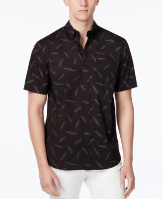 WHT SPACE Men's Feather-Print Short-Sleeve Shirt, Only at Vogily