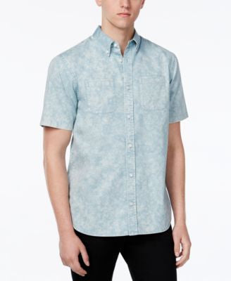 WHT SPACE Men's Acid Wash Short-Sleeve Shirt, Only at Vogily