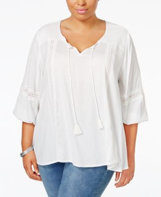 Style & Co. Plus Size Shadow-Striped Peasant Top, Only at Vogily