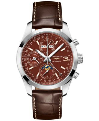 Longines Men's Swiss Automatic Chronograph Conquest Classic Triple Crown Series Brown Leather Strap