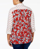 Style & Co. Plus Size Mixed-Print Shirt, Only at Vogily