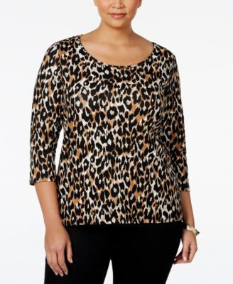 Charter Club Plus Size Animal-Print Top, Only at Vogily