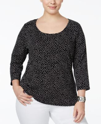 Charter Club Plus Size Dot-Print Top, Only at Vogily