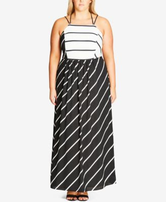 City Chic Plus Size Striped Maxi Dress