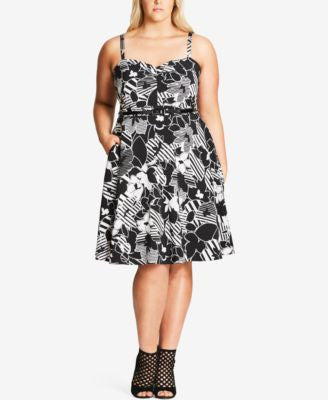 City Chic Plus Size Printed Belted Fit & Flare Dress