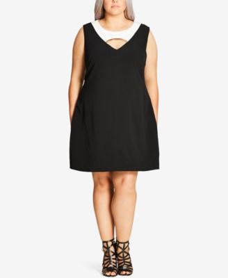 City Chic Plus Size Embellished Cutout Shift Dress