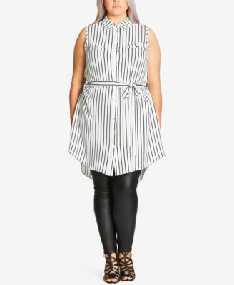 City Chic Plus Size Striped Tunic Shirt