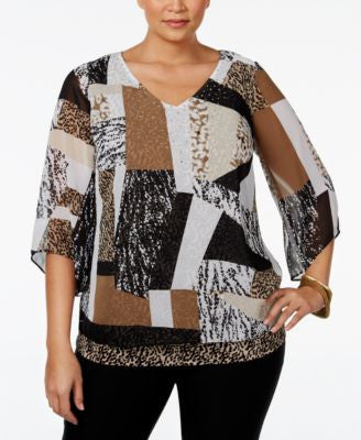 JM Collection Plus Size Printed Angel-Sleeve Blouse, Only at Vogily