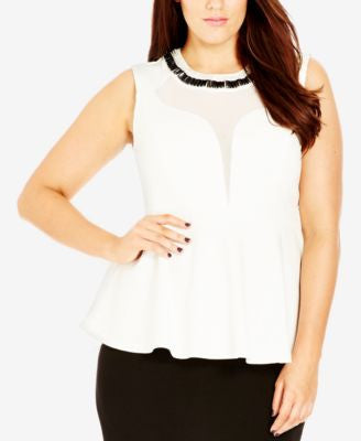 City Chic Plus Size Embellished Peplum Top