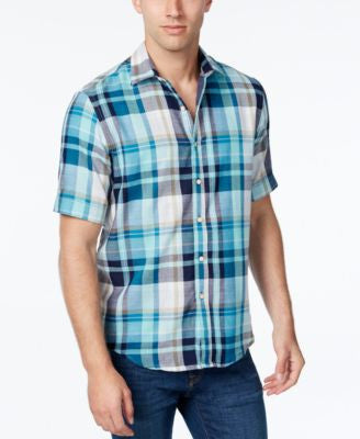 Tasso Elba Men's Plaid Short-Sleeve Shirt, Classic Fit