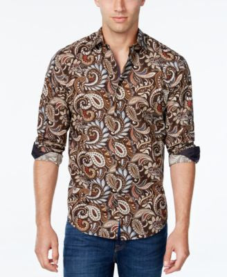 Tasso Elba Men's Big and Tall Paisley-Print Long-Sleeve Shirt, Classic Fit