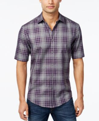 Alfani Men's Plaid Short-Sleeve Shirt