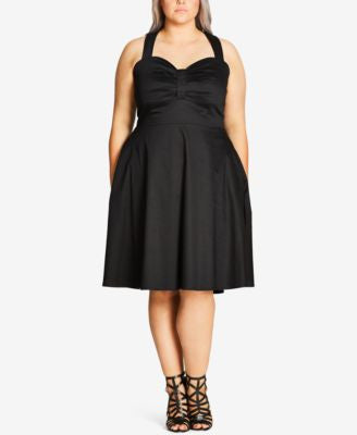 City Chic Plus Size Sweetheart-Neck Fit & Flare Dress