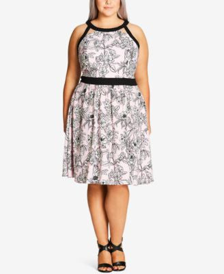 City Chic Plus Size Printed Racerback Fit & Flare Dress