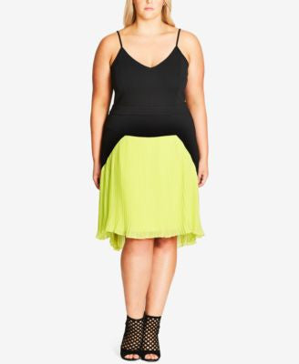 City Chic Plus Size Pleated Colorblocked Fit & Flare Dress