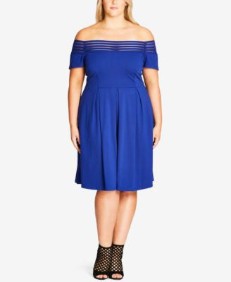 City Chic Plus Size Off-The-Shoulder Fit & Flare Dress