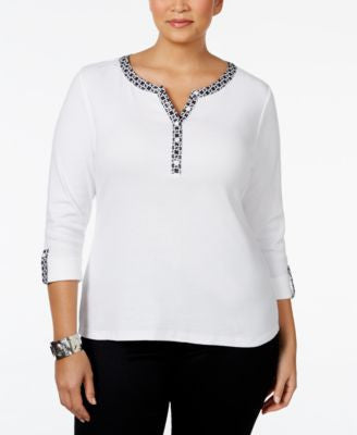 Karen Scott Plus Size Henley Top, Only at Vogily
