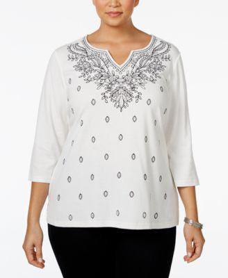 Karen Scott Plus Size Embroidered Split-Neck Top, Only at Vogily