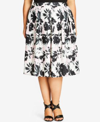 City Chic Plus Size Printed A-Line Skirt