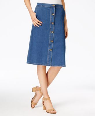 Kut from the Kloth Button-Front Denim Skirt