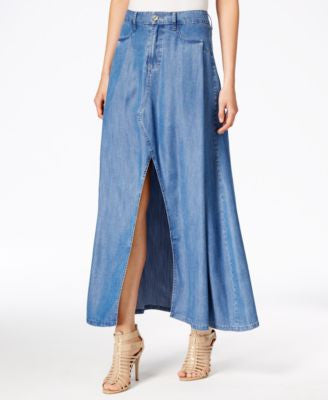 Kut from the Kloth Pleated Denim Maxi Skirt