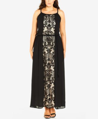City Chic Plus Size Belted Lace Maxi Dress