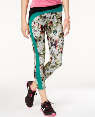 Energie Active Juniors' Domino Printed Contrast Capri Leggings