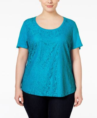 Calvin Klein Plus Size Lace Short-Sleeve Top