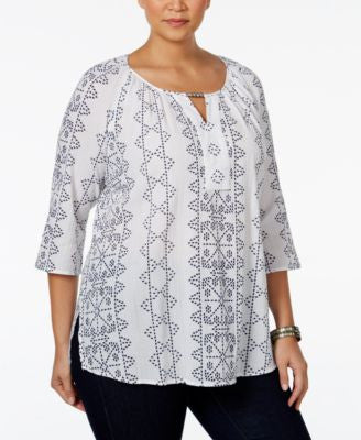 JM Collection Plus Size Printed Keyhole Peasant Top, Only at Vogily