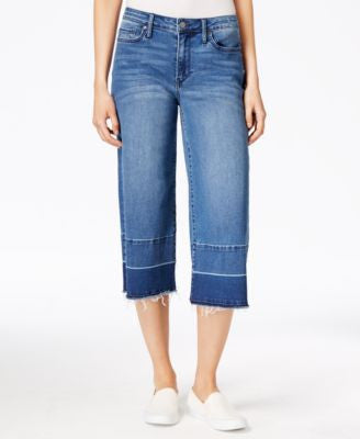 Calvin Klein Jeans Cropped High Tide Wash Released Hem Wide-Leg Jeans