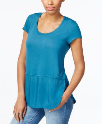 Calvin Klein Jeans Scoop-Neck Mixed-Media Top