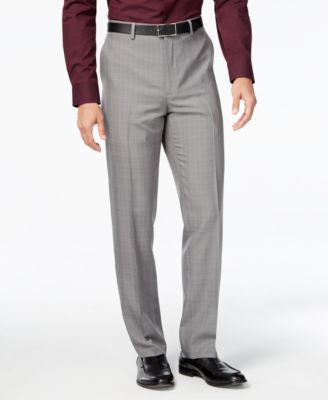 Alfani Men's Windowpane-Plaid Flat-Front Pants