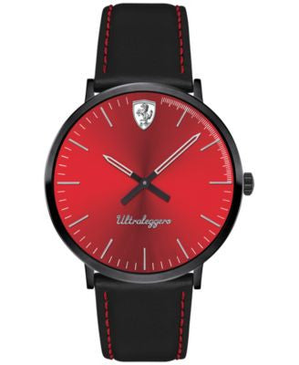 Ferrari Men's Ultraleggero Black Leather Strap Watch 40mm 0830334